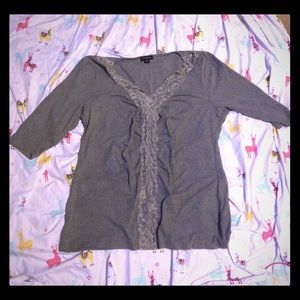 Stretch scrunch lace front sweater shirt